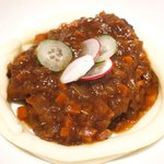 49081275 - ランチセット 1300円 の和牛スネ肉の煮込み カレー風味