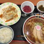 喜多方ラーメン 大安食堂 - 日替わりランチ/醤油ラーメン中太+皿ワンタン+ライス小+小鉢+漬物+デザート820円