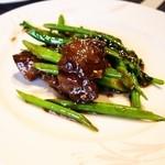 施家菜 - A5ランク但馬牛(上田牧場)のイチボとチャイニーズブロッコリーの炒め物