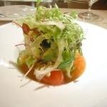 ル・ジャルダン・デ・サヴール - Le flan glace d'oursin gelee vinaigree de carotte salade de tomato