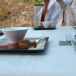 49136788 - 食後はテラスでお茶とデザート。桜並木が目の前です
