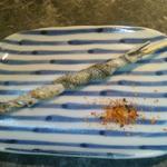 鮨・創作和食・長部 - サヨリの皮を串に巻いてあぶったもの。