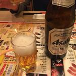神楽坂すしアカデミー - 瓶ビール(^∇^)