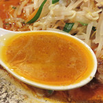 はすのうてな - スープは、かなり油ギッシュで驚きましたが、味わってみるとめっちゃゴマゴマしく濃厚です。