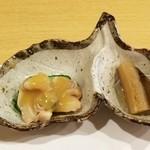 あら井 - 前菜(蛤の酢味噌和え、たたきごぼう)