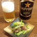 博多もつ鍋 よかさん房 - 中瓶ビール+お通し