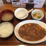 餃子の花家 - 四川風麻婆豆腐セット980円、激辛プラス50円です。