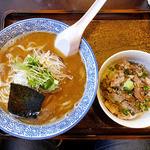 麺や 一晃亭 - 追い煮干し中華(太麺)& わさびチャシュー丼(2016年3月)