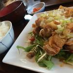 餃子の花家 - 油淋鶏セット