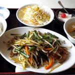 上海美食 - レバニラ炒め定食@500円です