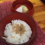 明石 - ちりめん山椒のご飯と お漬物