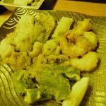 きた山 - 鱧:小海老・平ゆばと京野菜の天ぷら