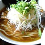 49337213 - しょう油太麺のスープ