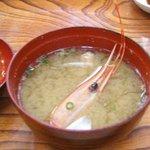 北浜寿し - 味噌汁には海老の頭が2つ!出汁がウマい!