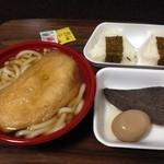 麺吉 どんどん - H.28.4.1.昼 きつねうどん+おにぎりセット 962円税込