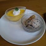 窯焼ピザ 俺家 - かぼちゃプリンとチョコチップアイス