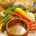やきとんひなた - 季節の野菜のバーニャカウダ(480円)(2012/9)