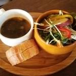 49398748 - 日替りパスタのサラダとかスープ、パン