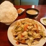 49404776 - 野菜炒め定食(ごはん&おかず両方大盛り)