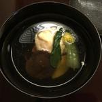 日本料理 花城 - 進上の細かな説明を受けたが、あまり頭に入ってこなかった。食感はふわふわ。味はお出汁含めてごく普通。