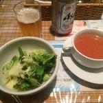 ぐらたんはうす ぱん - セットのスープ、サラダ