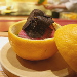 にくの匠 三芳 - 和牛燻製 ホワイトアスパラ・フルーツトマト・三宝柑ジュレ、トリュフのせ
