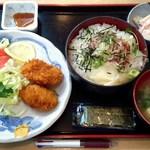 ときわ食堂 - A定食(中おち丼と一口かつ定食)720円+ご飯大盛り50円