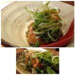 食堂えぶりお - ◆葱タップリ揚げたて厚揚げ 自家製の厚揚げで、揚げたてですよ。外はカリッと揚がり中はフワフワ。