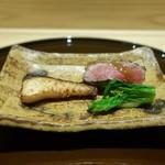 米倉 - カンパチの若狭焼き  青首鴨のロース煮、ポワローネギ