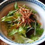 博多 柚づ庵 - 野菜サラダ。ゴボウのかりかり感が良かった。
