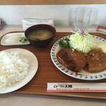 49464930 - 2016年4月。井坂煮とメンチカツランチ1050円。