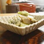 なる屋 - 揚物 鮑と肝の天ぷらと賀茂茄子