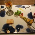 創作料理 宿 - 前菜3種盛り キャビア、キッシュ