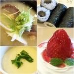回転寿し トリトン - ホタテ味噌汁/新香巻き/茶碗蒸し/デザート