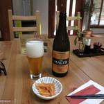 日本の里 風布館 - ビールは一種類。サントリー ザモルツ生 500ml, \650也