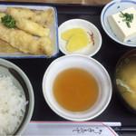 まるよし - 料理写真:料理 本日の『日替わり定食』天麩羅盛合せ 俯瞰
