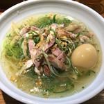 鶏そば(淡海地鶏)1,200円&煮玉子(名古屋コーチン)100円