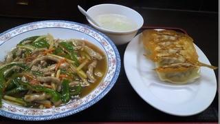 中華食堂一番館 - 「青椒肉絲丼+餃子5ヶ(¥550)」