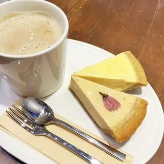 サンクサンク - チーズケーキ2個+カフェオレ