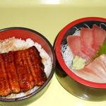 土浦魚市場 - うな丼さしみ