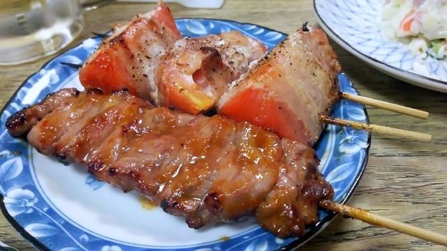 弐ノ十 - かしらみそ¥100&トマト肉まき¥150