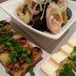 ネギッチン negi negi - 呑み放題コーススタート 葱の前菜三種盛り クリームチーズがたまらん 2016.4