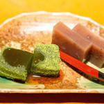 仁松庵 - デザートは抹茶のわらび餅とあずき羊羹。ごちそうさまでした。