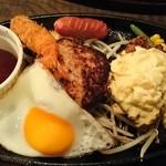 王様のレストラン - 王様のハンバーグとチキン南蛮(エビフライ、ウインナー追加)