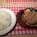 49591652 - マヨネーズミートソースハンバーグ特大+大盛ライス【料理】
