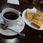 エビアンコーヒー - モーニングセット400円(税込)