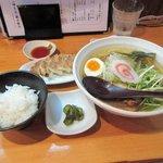 麺や七福 - 「節」+餃子+小ごはん2016.04.09