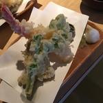 魚我志 むさし - ランチのむさし御膳 天ぷら付き(1,500円)2016年3月