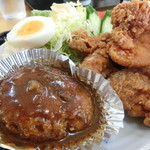 みさき庵 - ハンバーグセットの唐揚げアップ