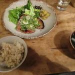 燕食堂 - 豚肩ロース西京焼き九条ネギマリネのせ ¥1,000